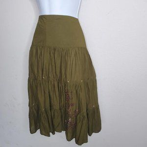 Olive Green Embrodiered Boho 3 Tier Skirt